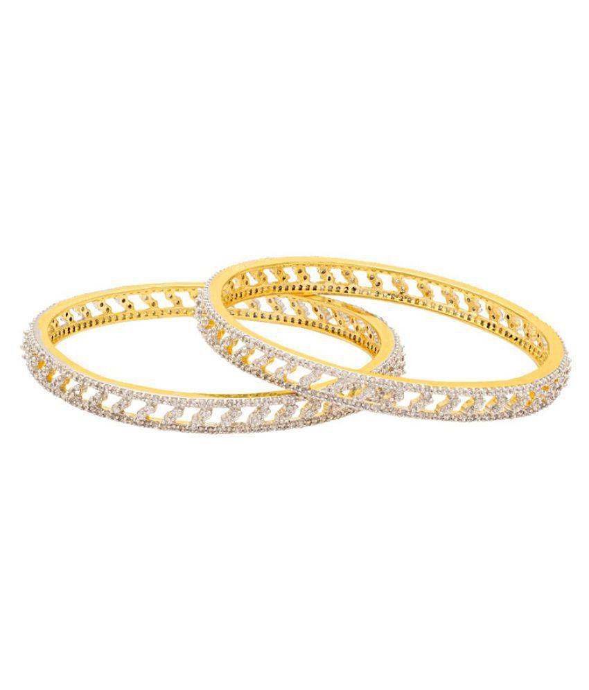 Navrang Golden Pair Of Bangles with CZ Embellishment for Women