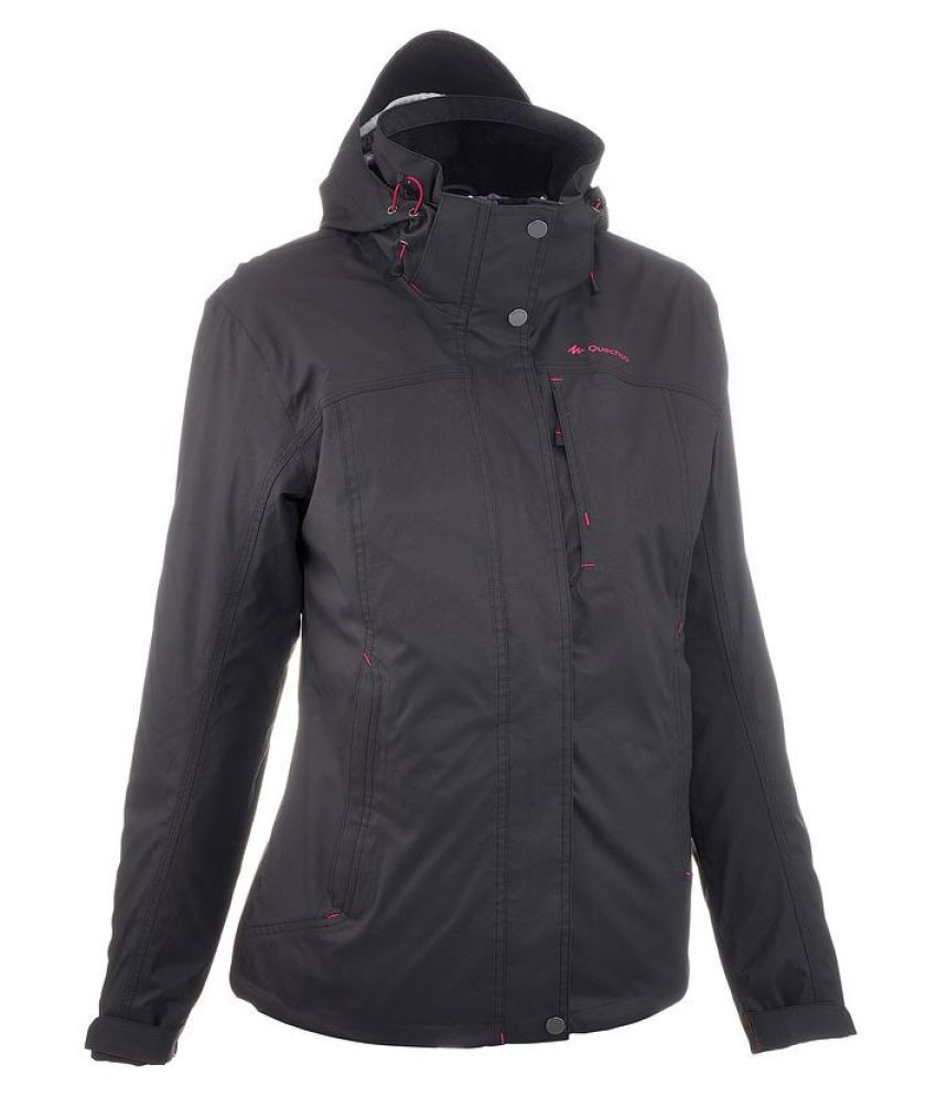 Quechua Black Waterproof Hiking Jacket