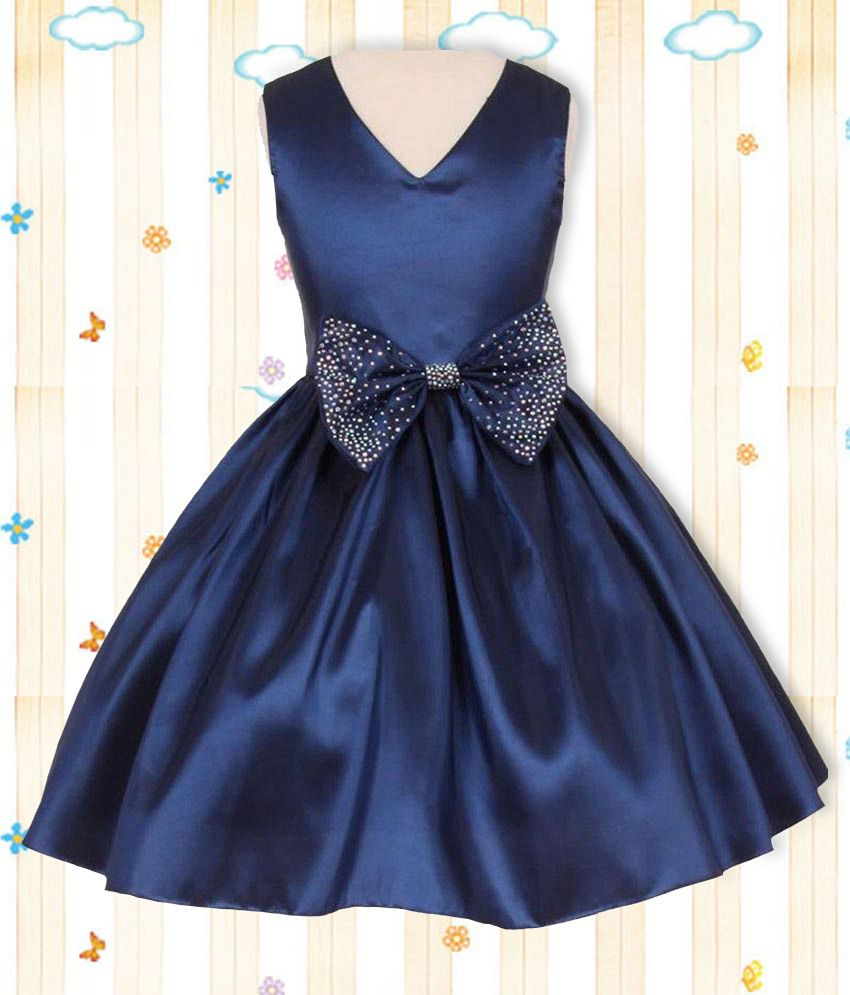 Pink Wings Navy Blue Taffeta Frock With Hairband