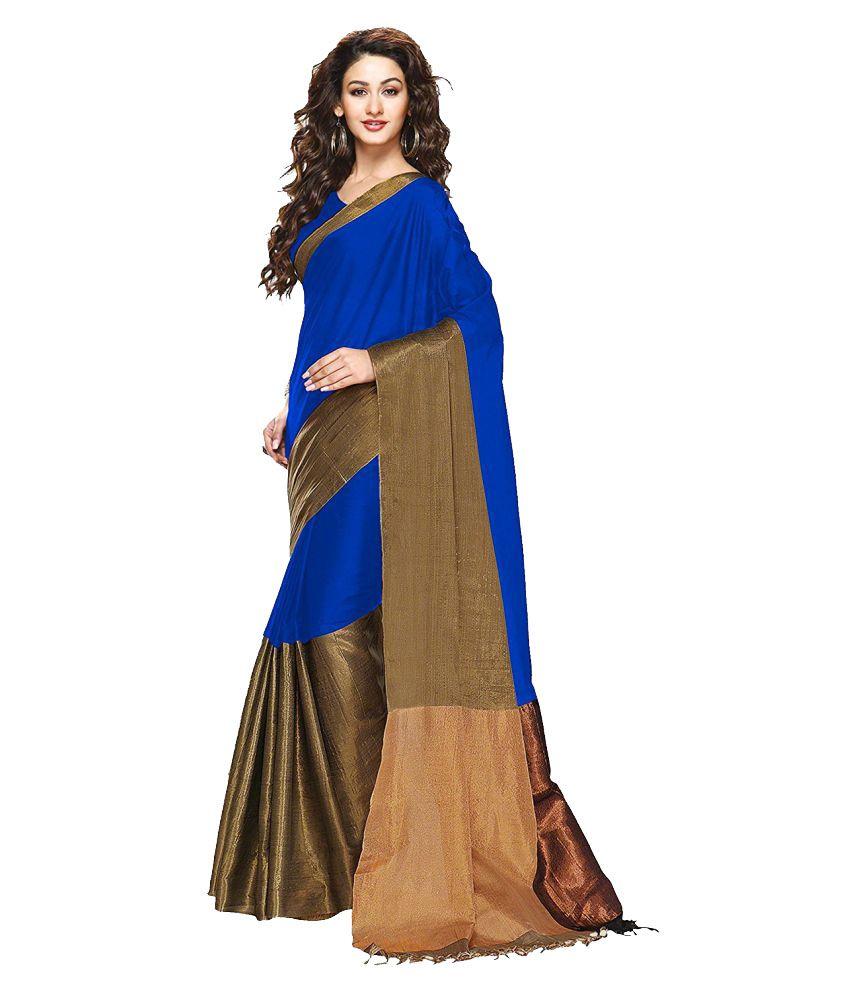 The Lugai Fashion Blue Cotton Saree