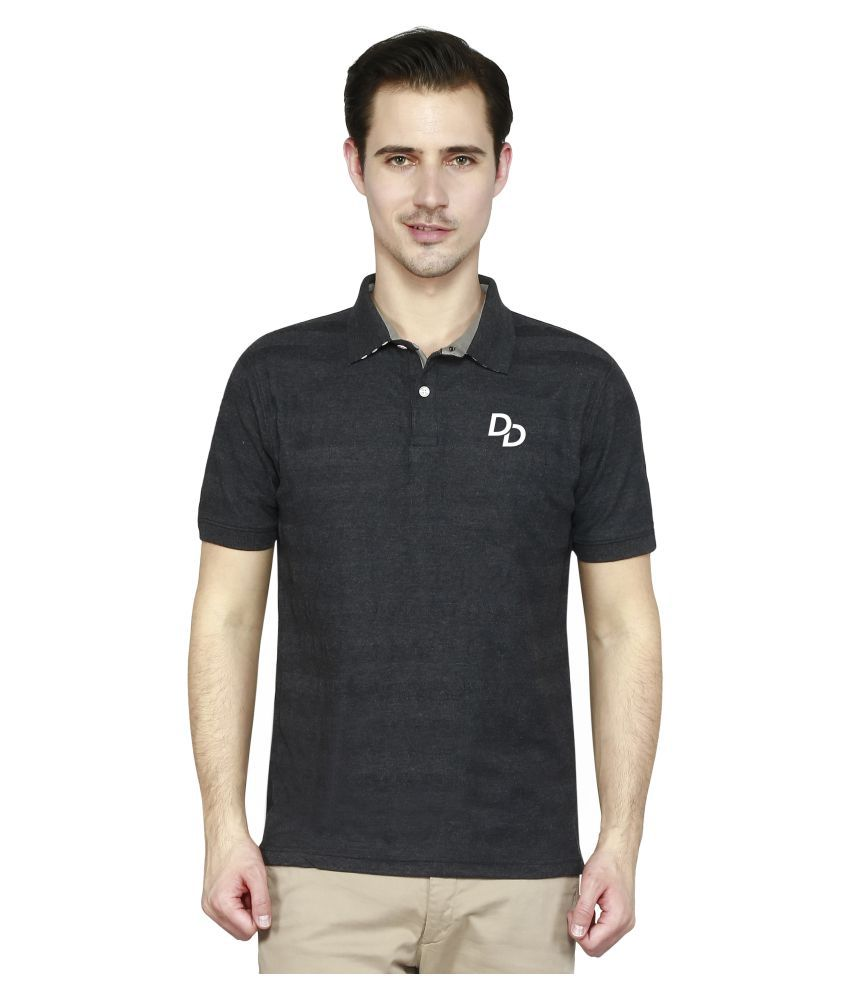 Delhi Daredevils Black Cotton Polo T-Shirt