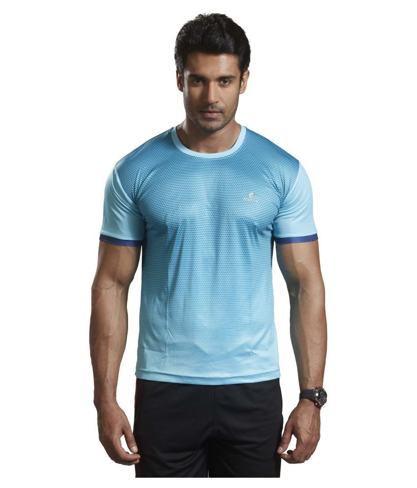 Omtex Sky Blue Polyester Active Wear T-Shirt