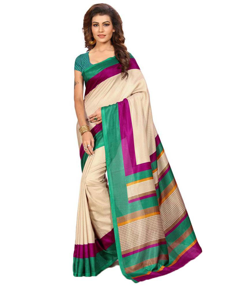 Urban Vastra Beige Raw Silk Saree