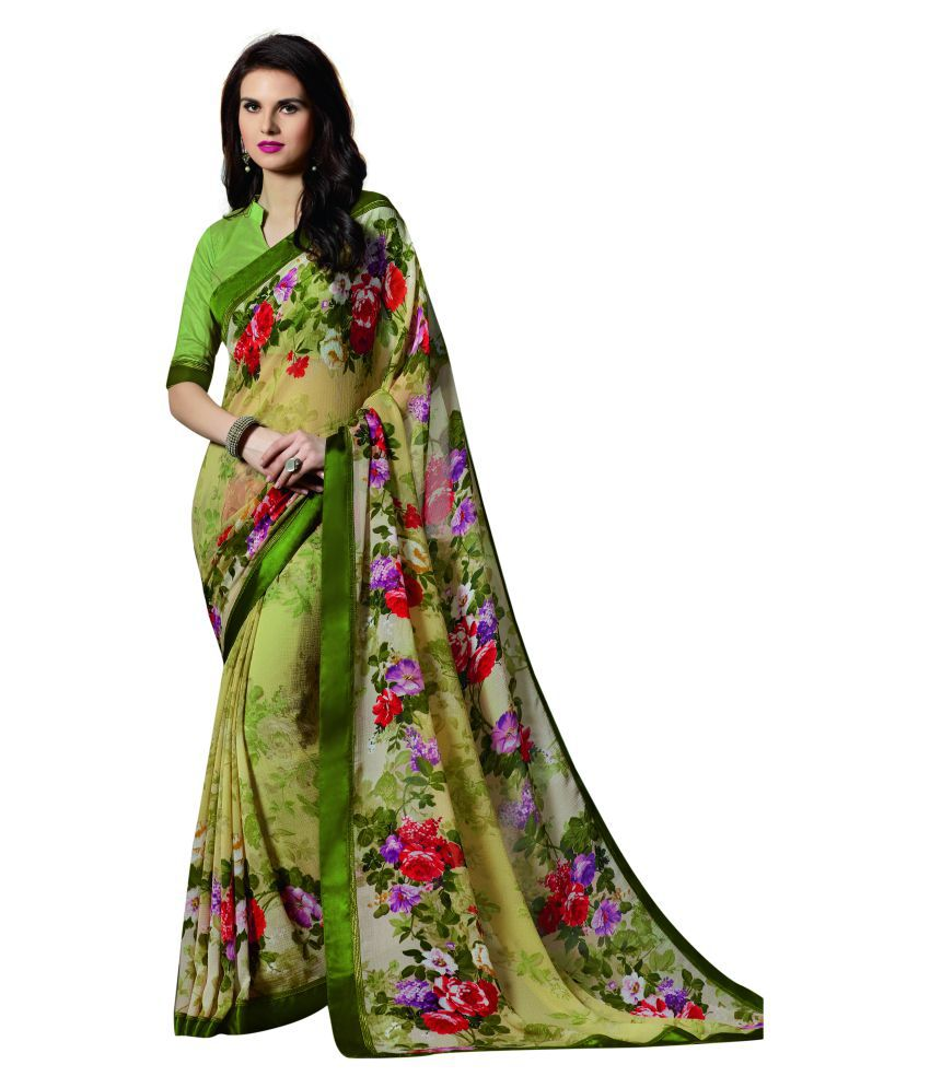 Patiala House Green Georgette Saree