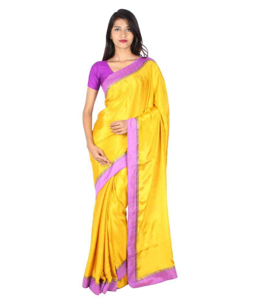The Chennai Silks Yellow Crepe Silk Saree