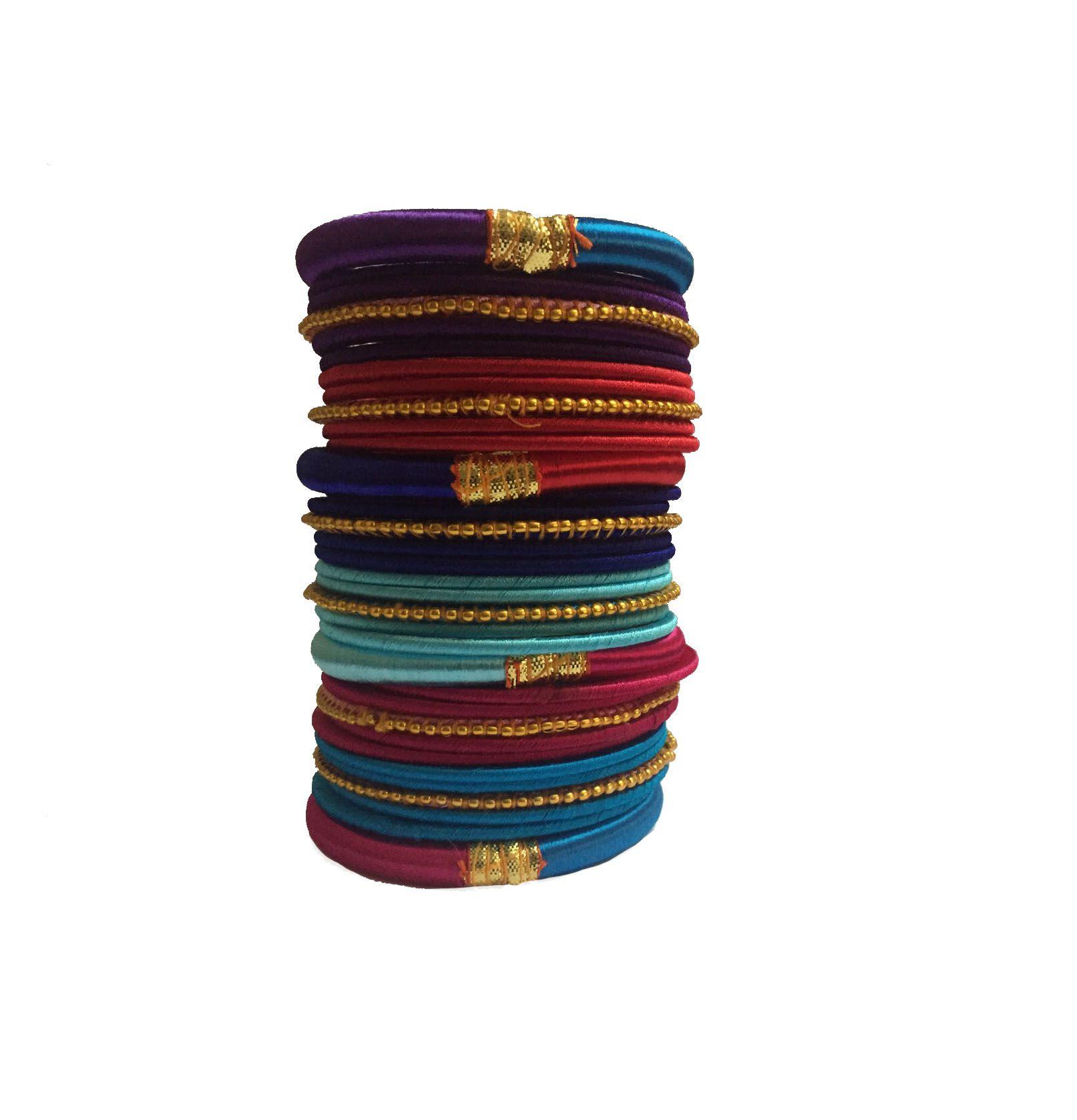 Thirsty Guys Multi Color Silk Thread Plastic Bangle Set For Women