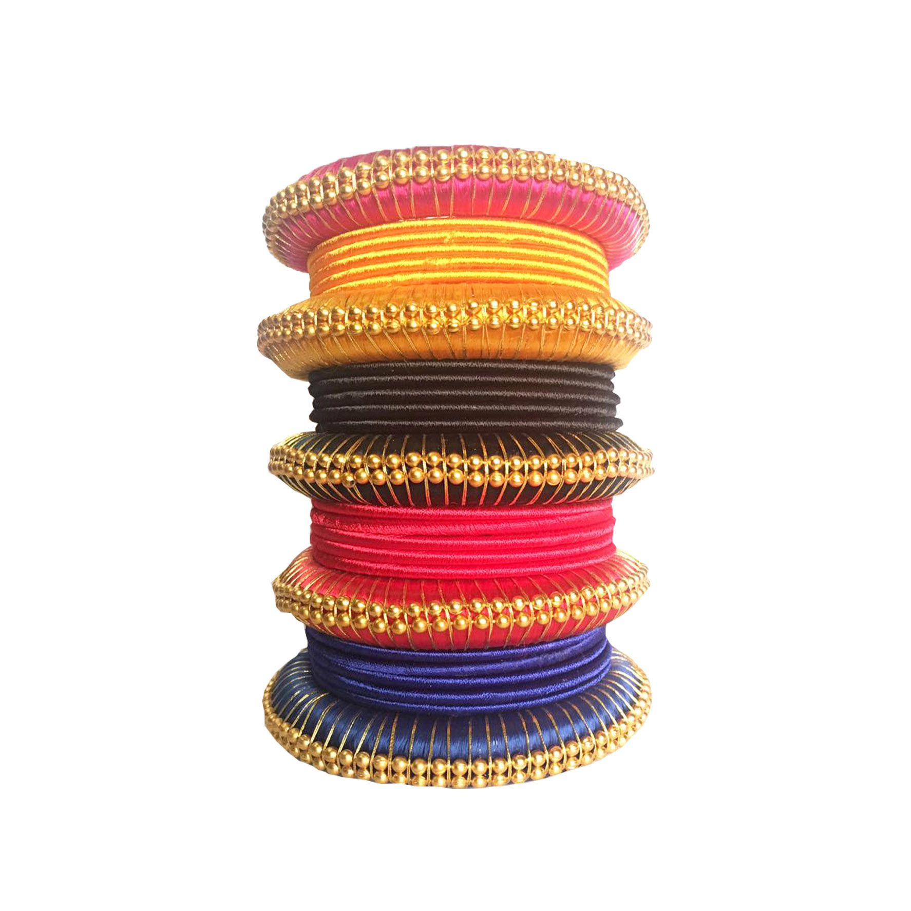 Thirsty Guys Multicolor Silk Thread Plastic Bangle Set for Women
