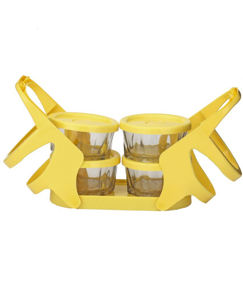 Somil Yellow Virgin Plastic Lunch Box 4 containers