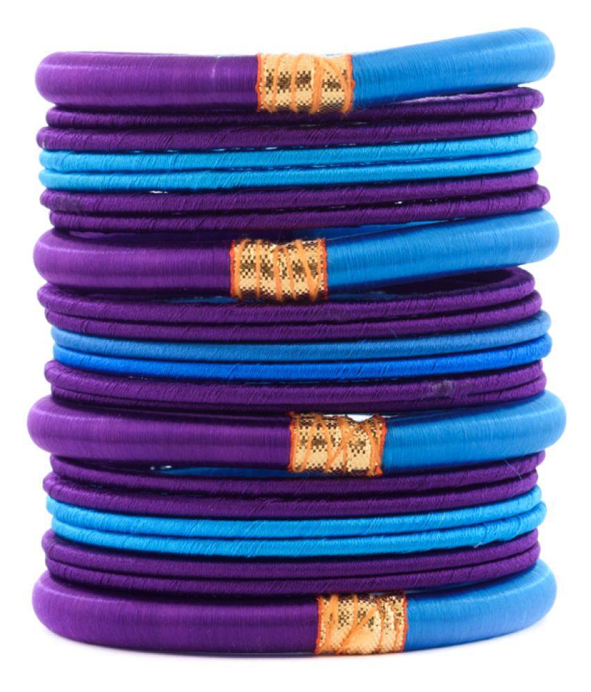 Thirsty Guys Multi Color Silk Thread Plastic Bangle Set