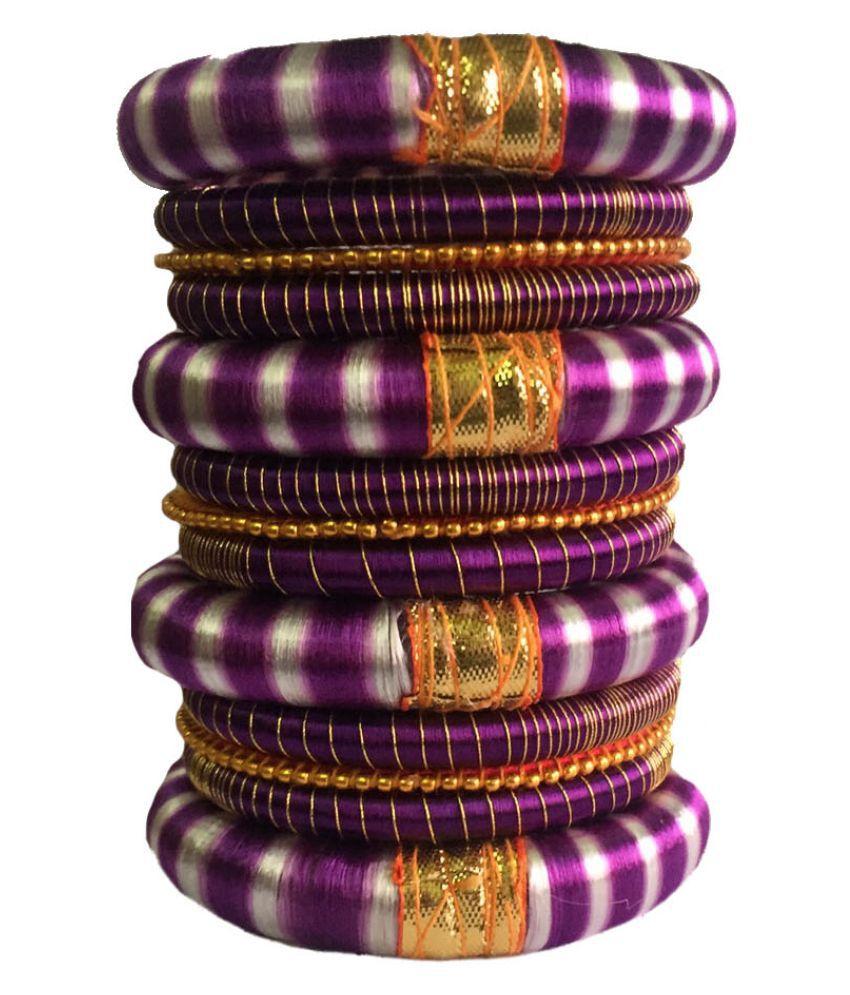 Thirsty Guys Multicolor Silk Thread Plastic Bangle Set for Women