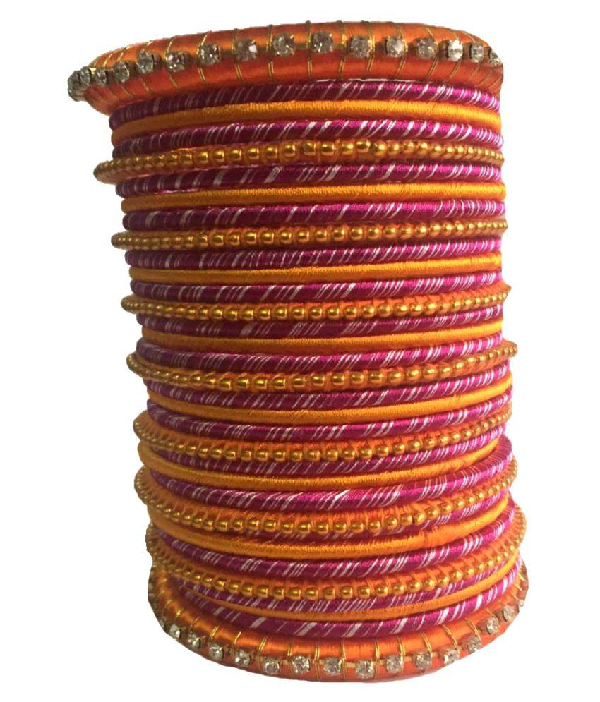 Thirsty Guys Multicolour Silk Thread Plastic Bangle Set For Women