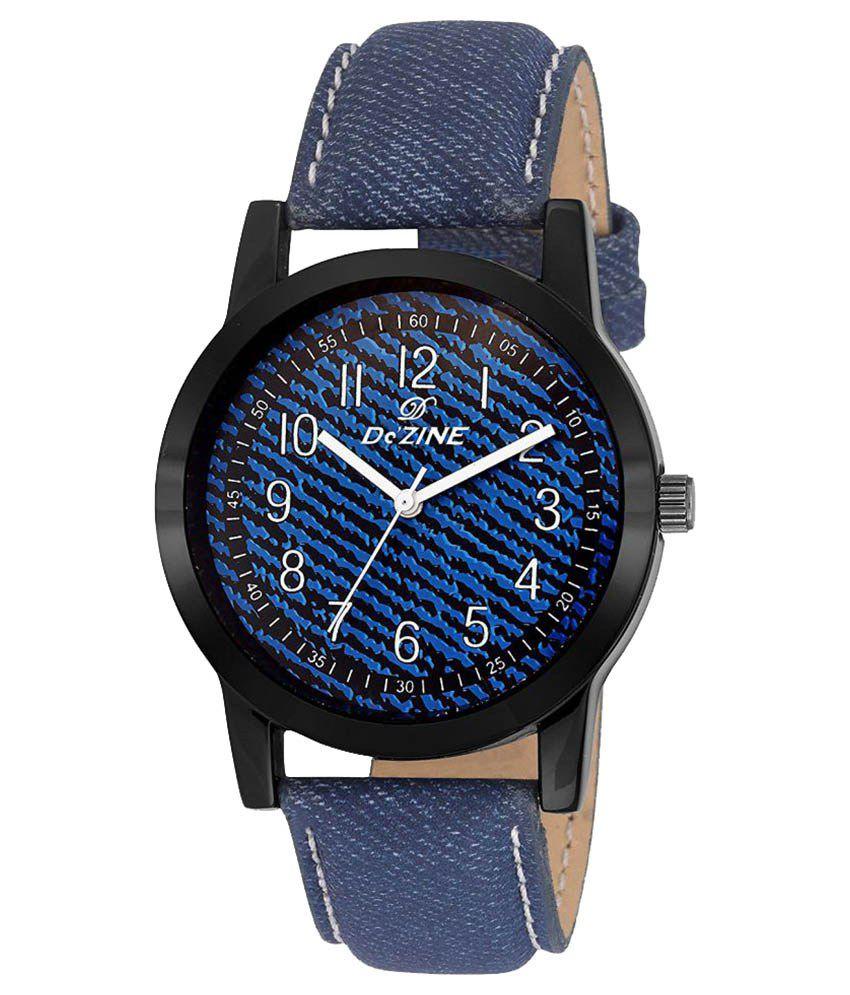 Dezine DZ GR069 BLU BLU Leather Analog Men #039;s Watch
