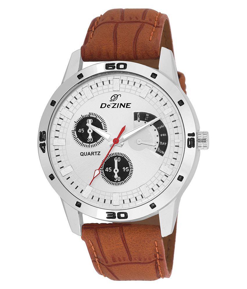 Dezine DZ GR036 WHT BRW Leather Analog Men #039;s Watch
