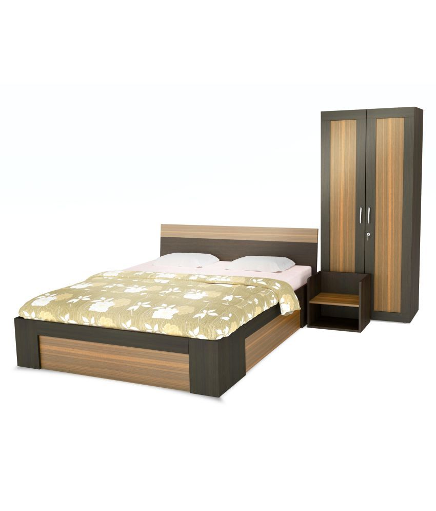 white cedar bed room set king size bed two doors wardrobe one
