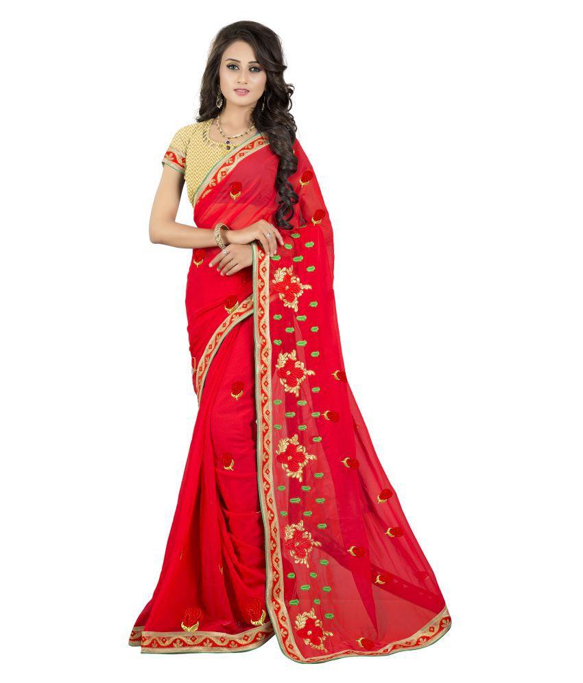 Om Krishna Sarees Red Georgette Saree