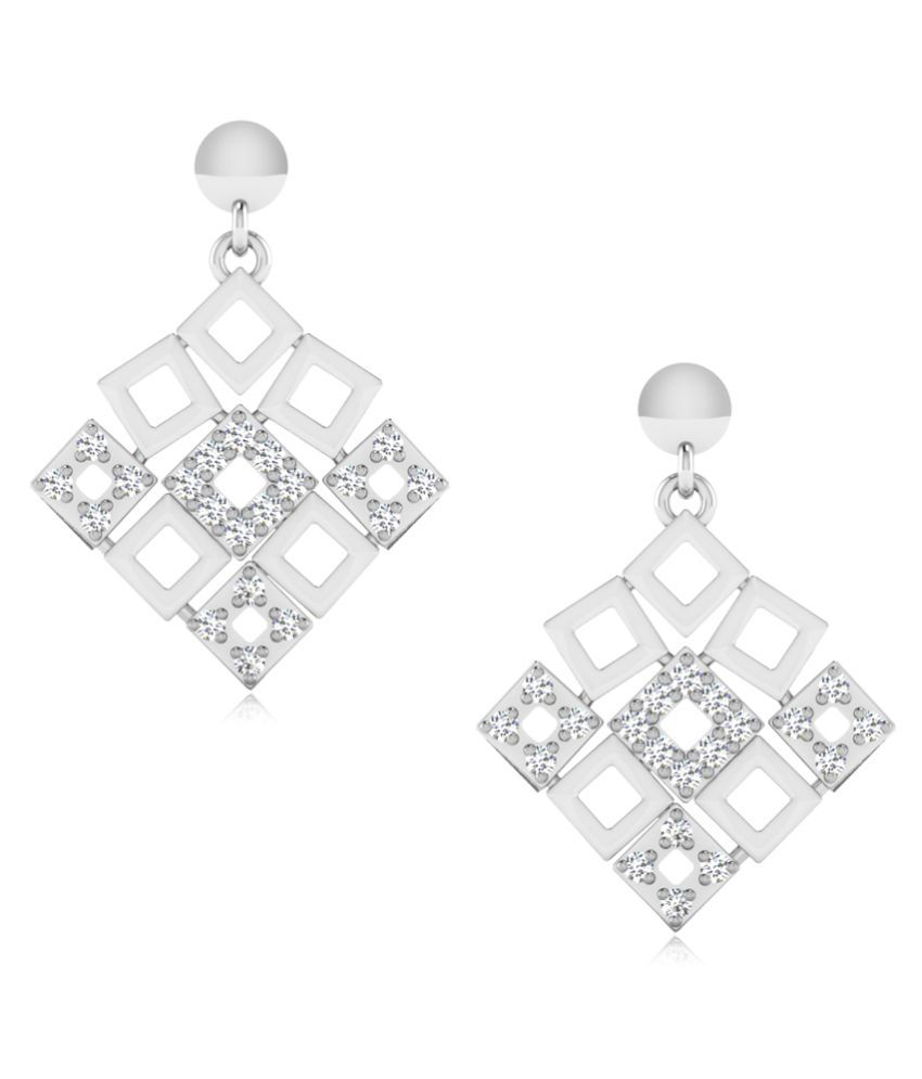 NaginabyIskiUski 14k BIS Hallmarked White Gold Swarovski Drop Earrings