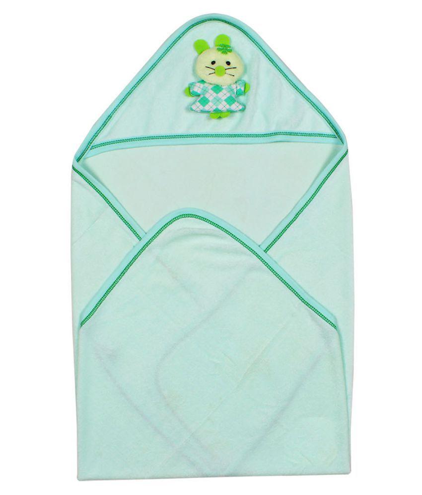 Ole Baby Green Cotton Baby Wrap cum blanket ( 73 cm × 77 cm - 1 pcs)