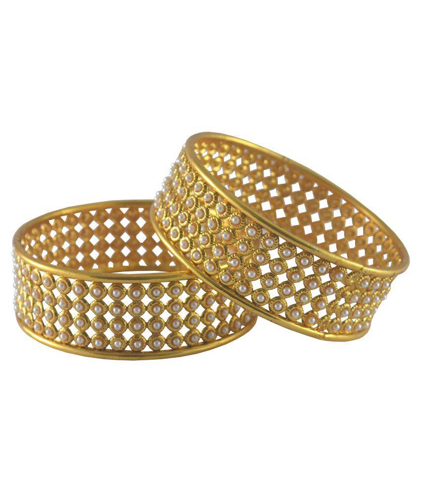 Rejewel Gold Plated Pair of Kada