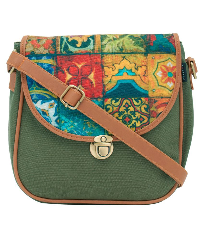 Haqeeba Green Canvas Sling Bag