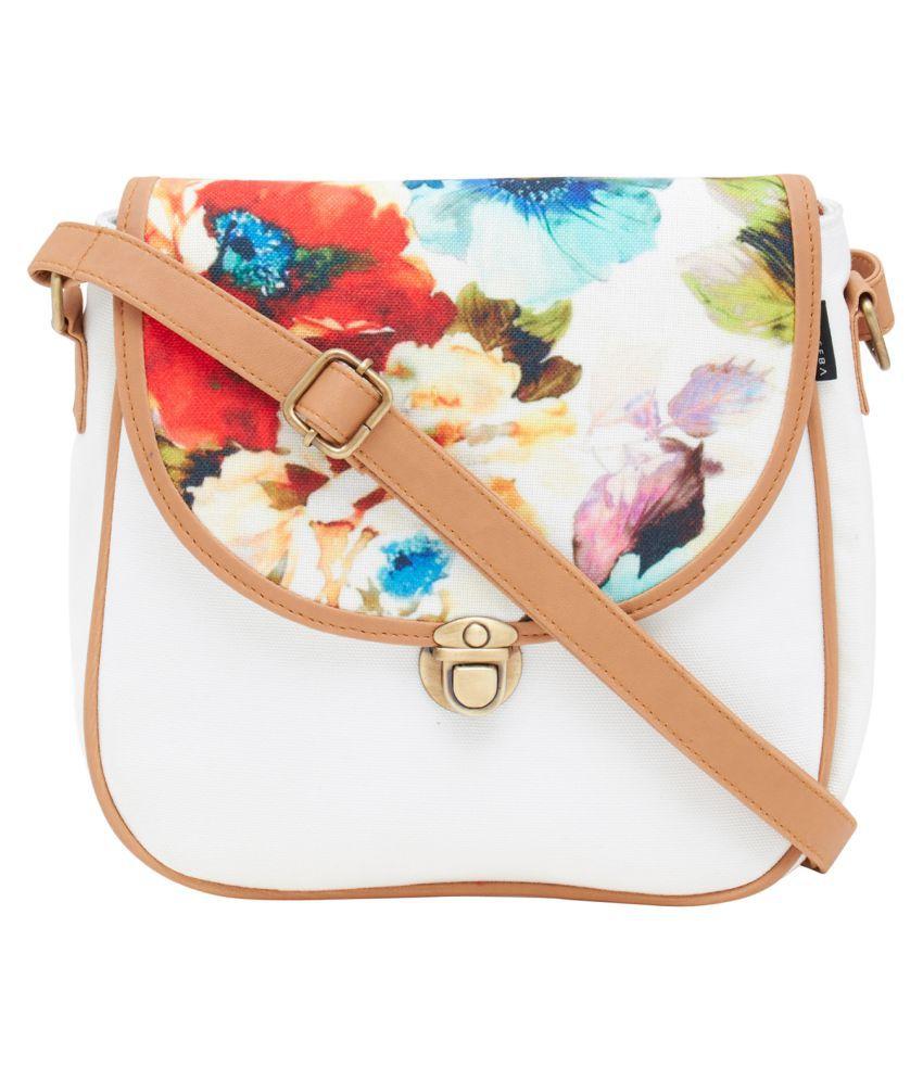 Haqeeba White Canvas Sling Bag