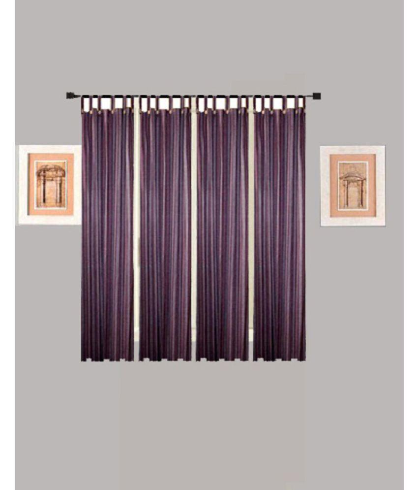 Tidy Set of 4 Window Loop Curtains Stripes Purple