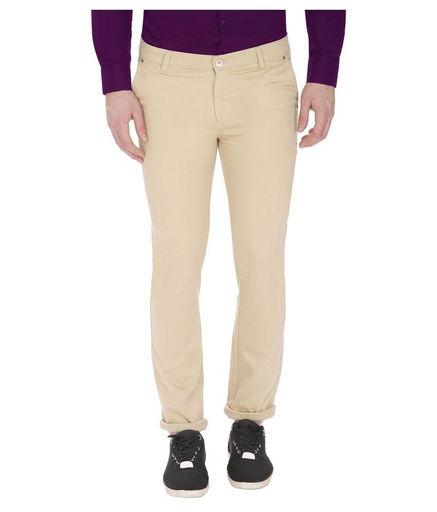 Gradely Beige Slim Flat Trousers