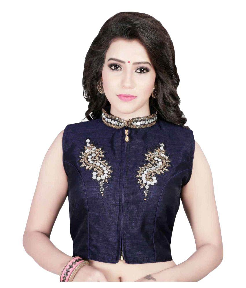 Kuvarba Fashion Blue Net Back Blouse