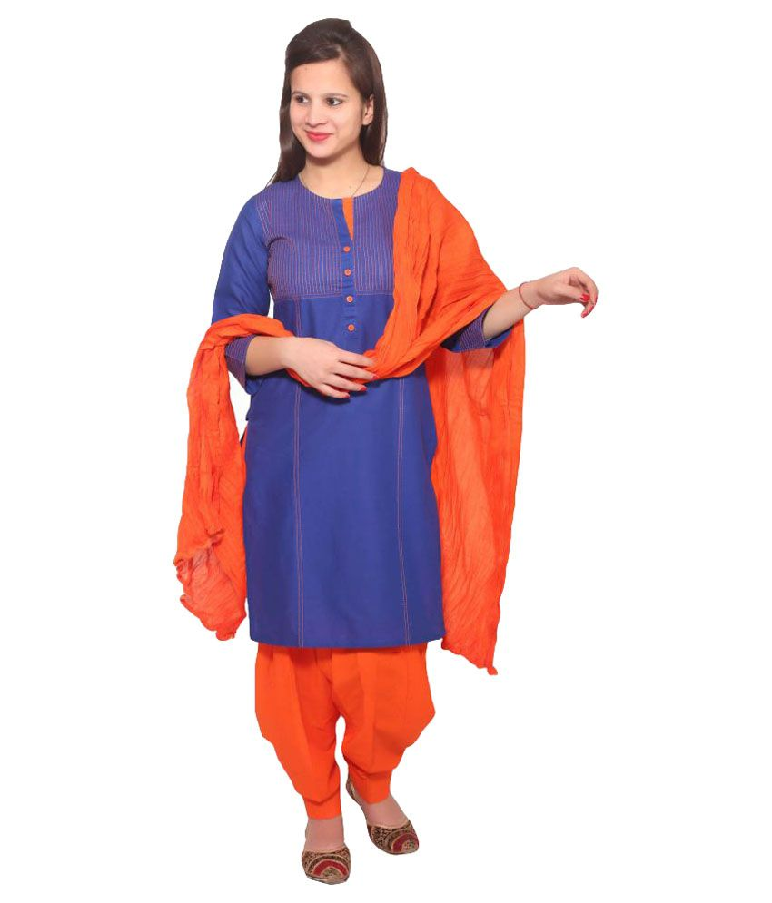 Nayisi Blue Cotton Straight Stitched Suit