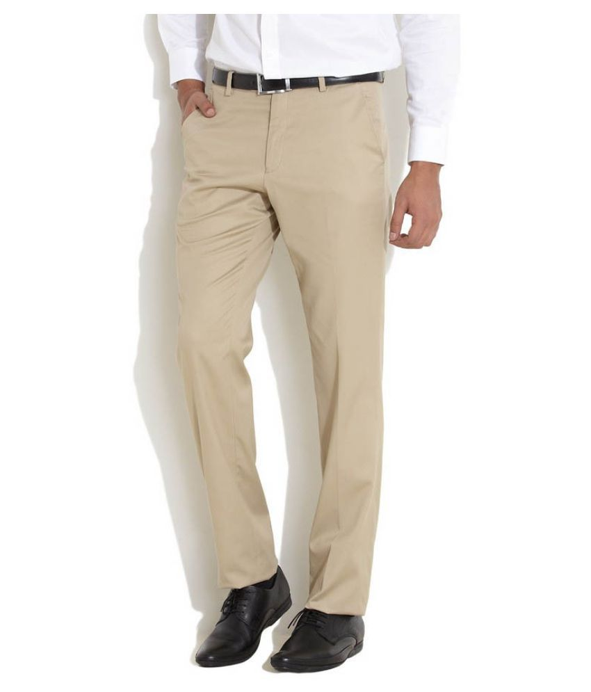 AD & AV Beige Regular Flat Trousers
