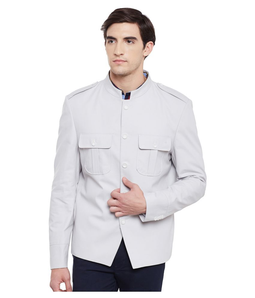Envoy White Solid Casual Jackets