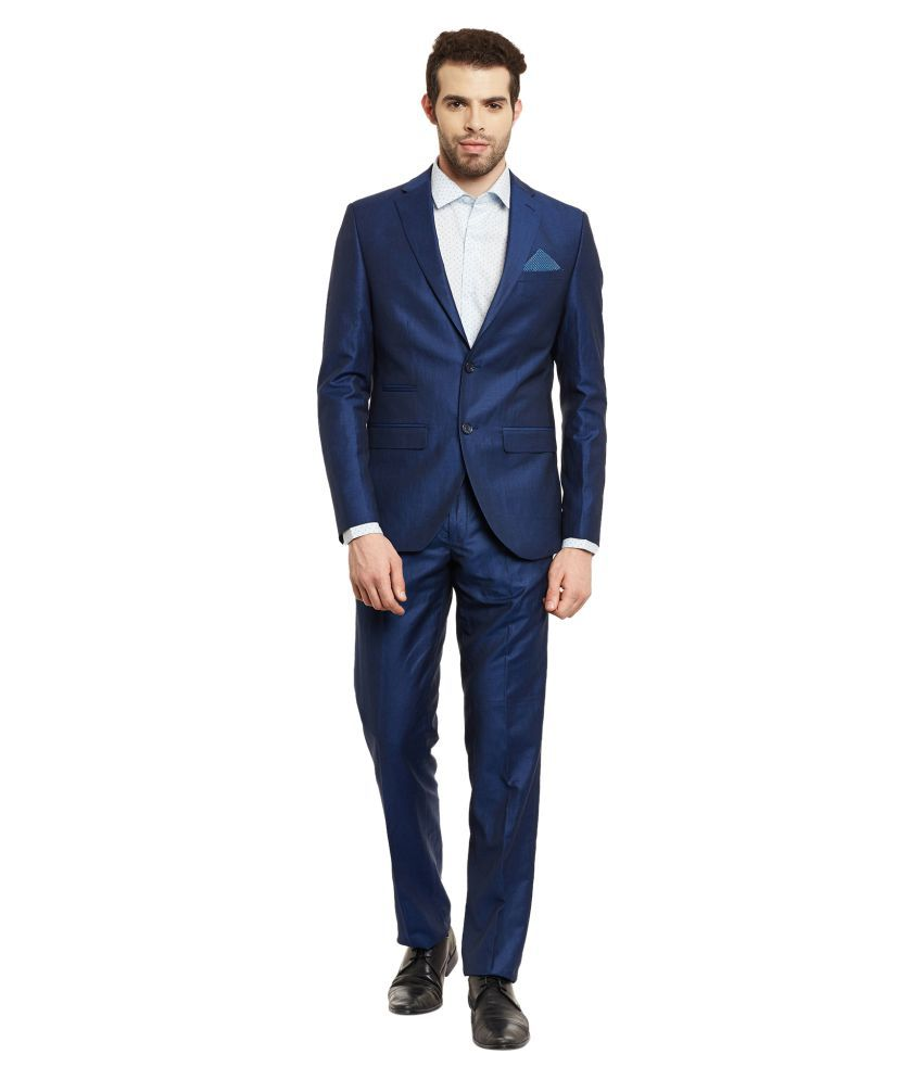 Envoy Blue Solid Casual Suit