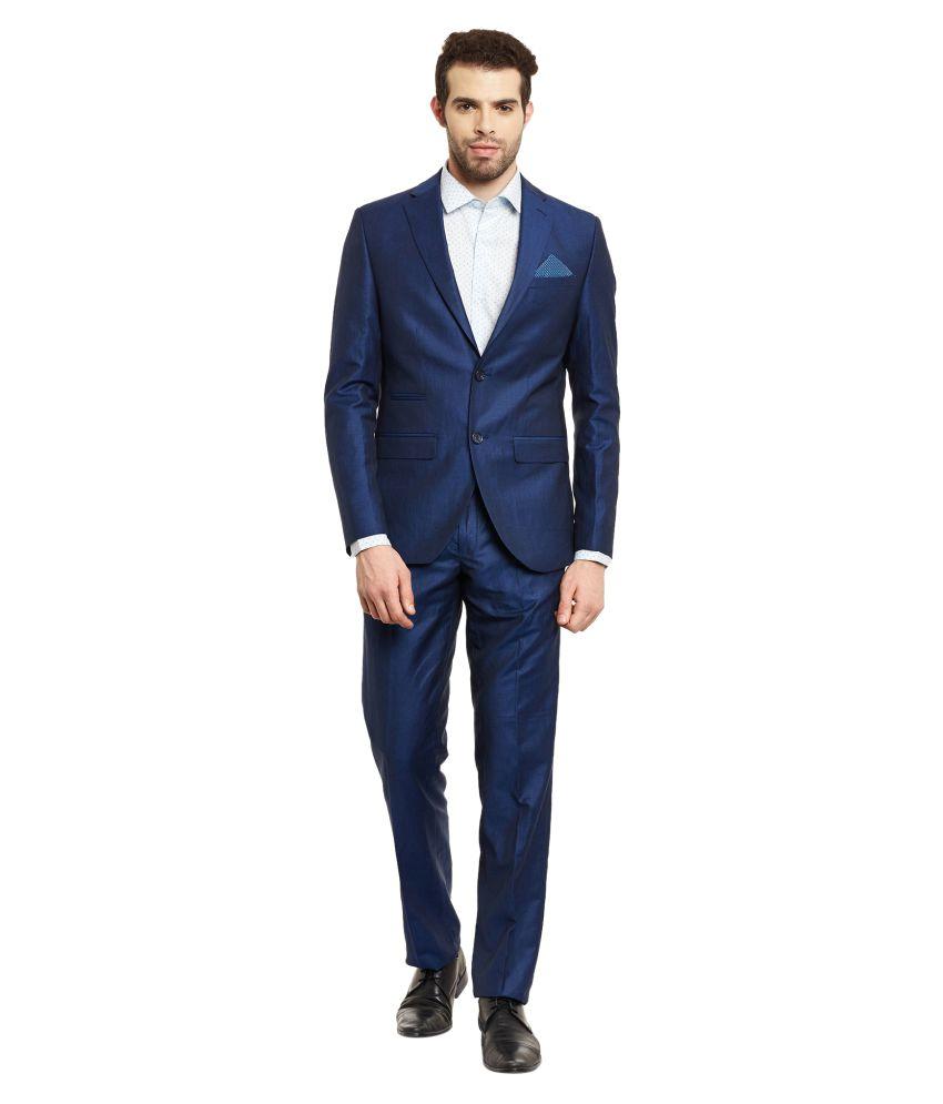 Envoy Blue Solid Formal Suit