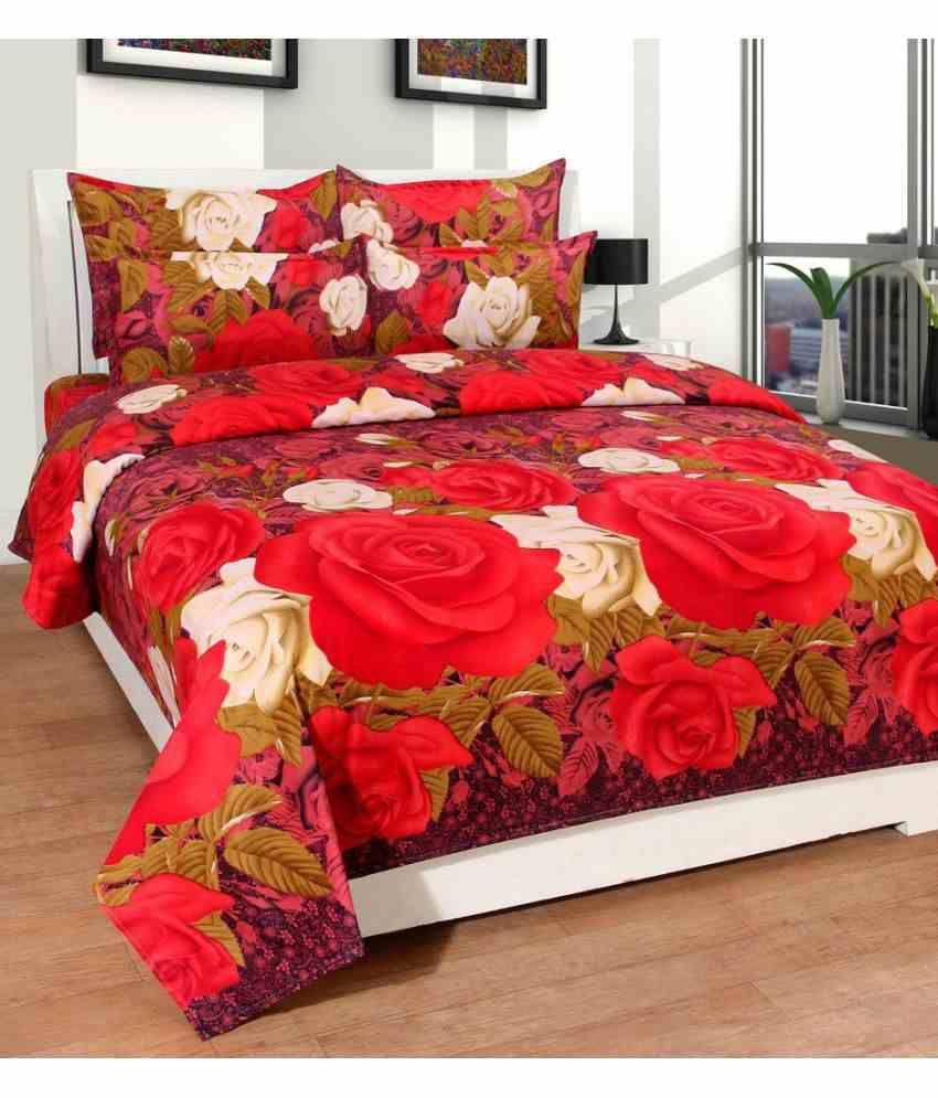 Homefab India Double Poly Cotton Multi 3D Print Bed Sheet ...