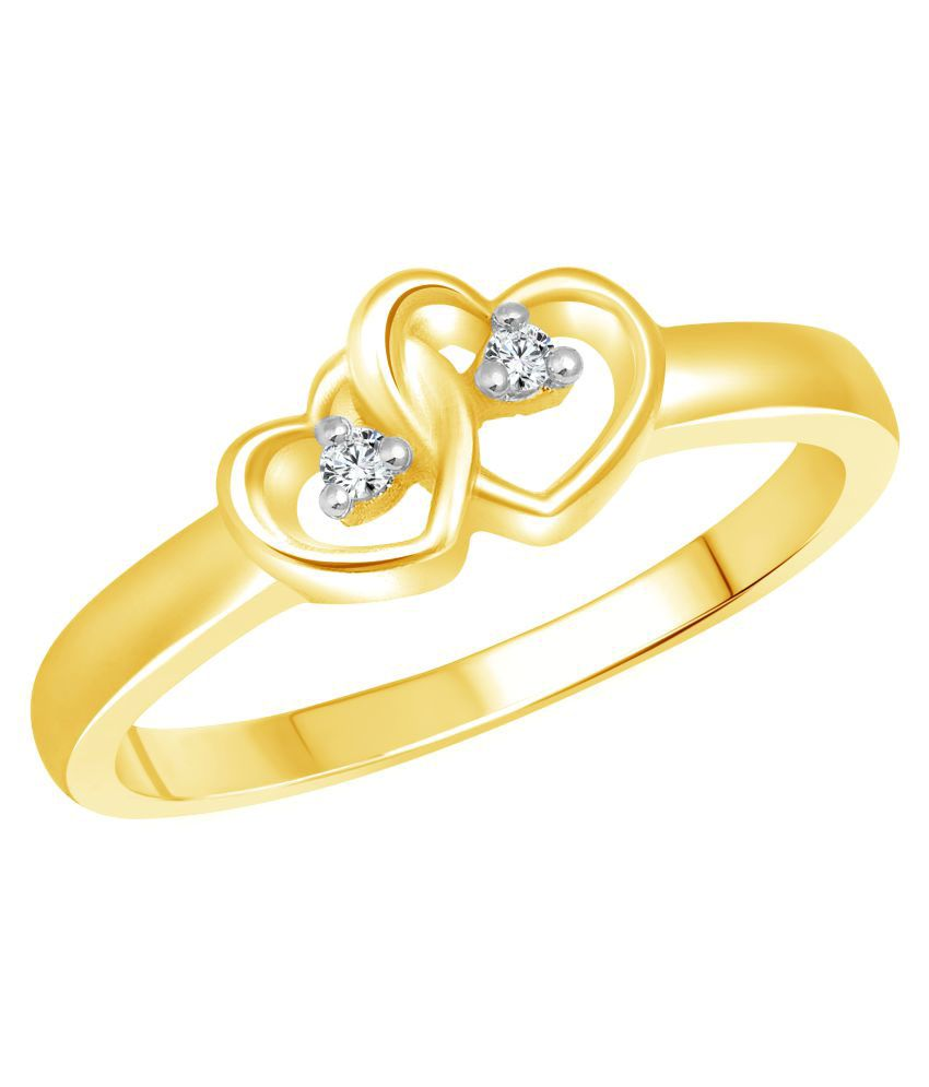 Vighnaharta Golden Dual Heart CZ Gold and Rhodium Plated Alloy Ring for Women