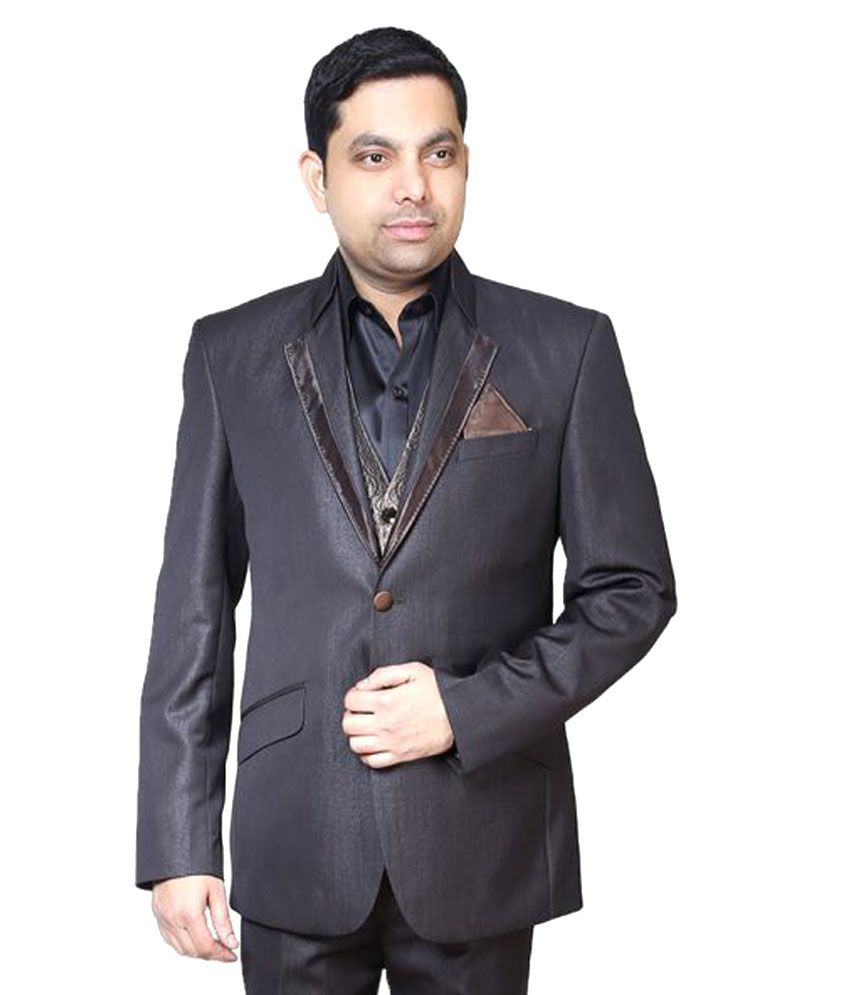 Bindals Brown Solid Party Suit