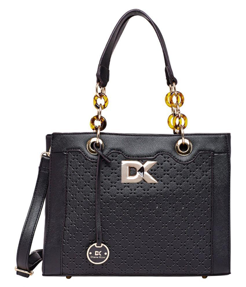 Diana Korr Black P.U. Shoulder Bag