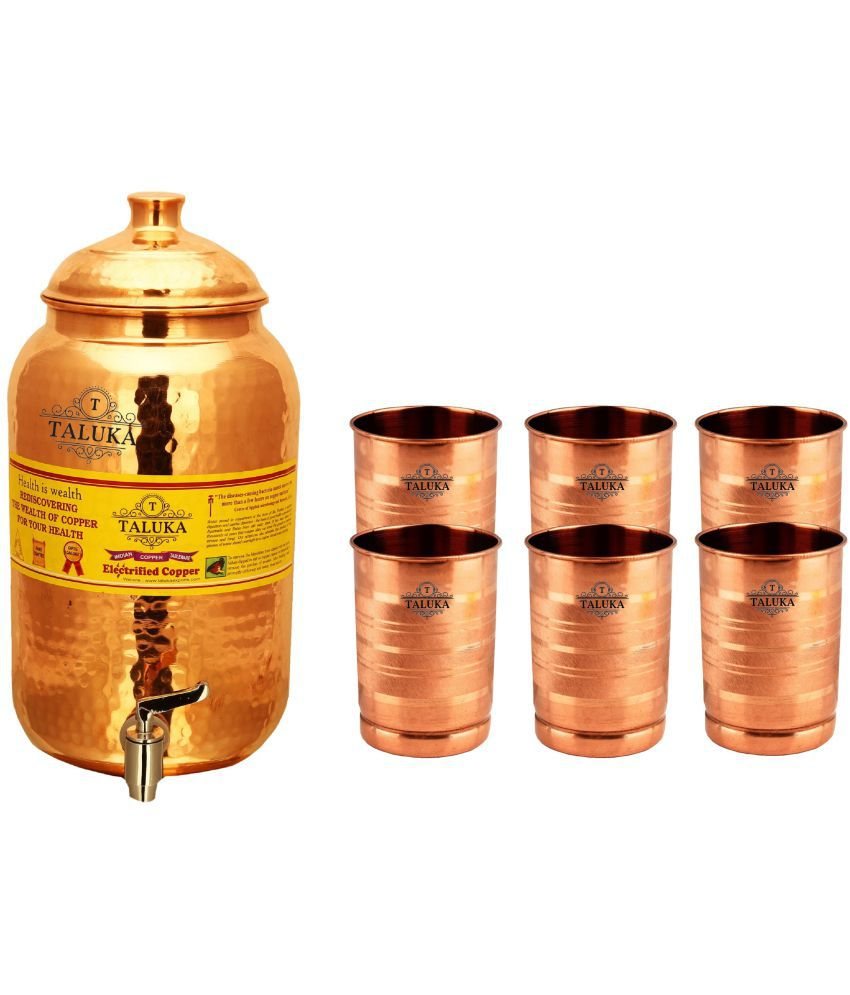 Taluka Water Pot 2000 ML & 6 Glass 300 ML Each  Copper Water Container Set of 7