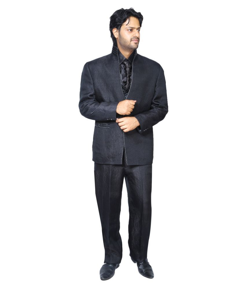 Bindals Black Self Design Party Suit