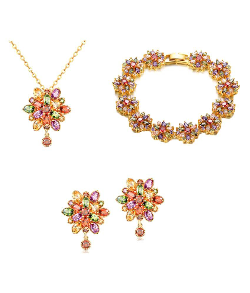 Waah Waah Multicolor Cubic Zircon Necklace Set with Bracelet