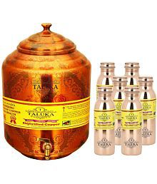Taluka Water Pot 17000 ML & 6 Bottle 1000 ML Each  Copper Water Container Set Of 7