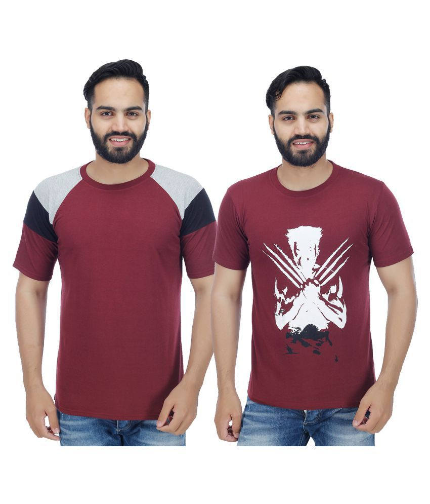 Christy World Maroon Round T-Shirt Pack of 2