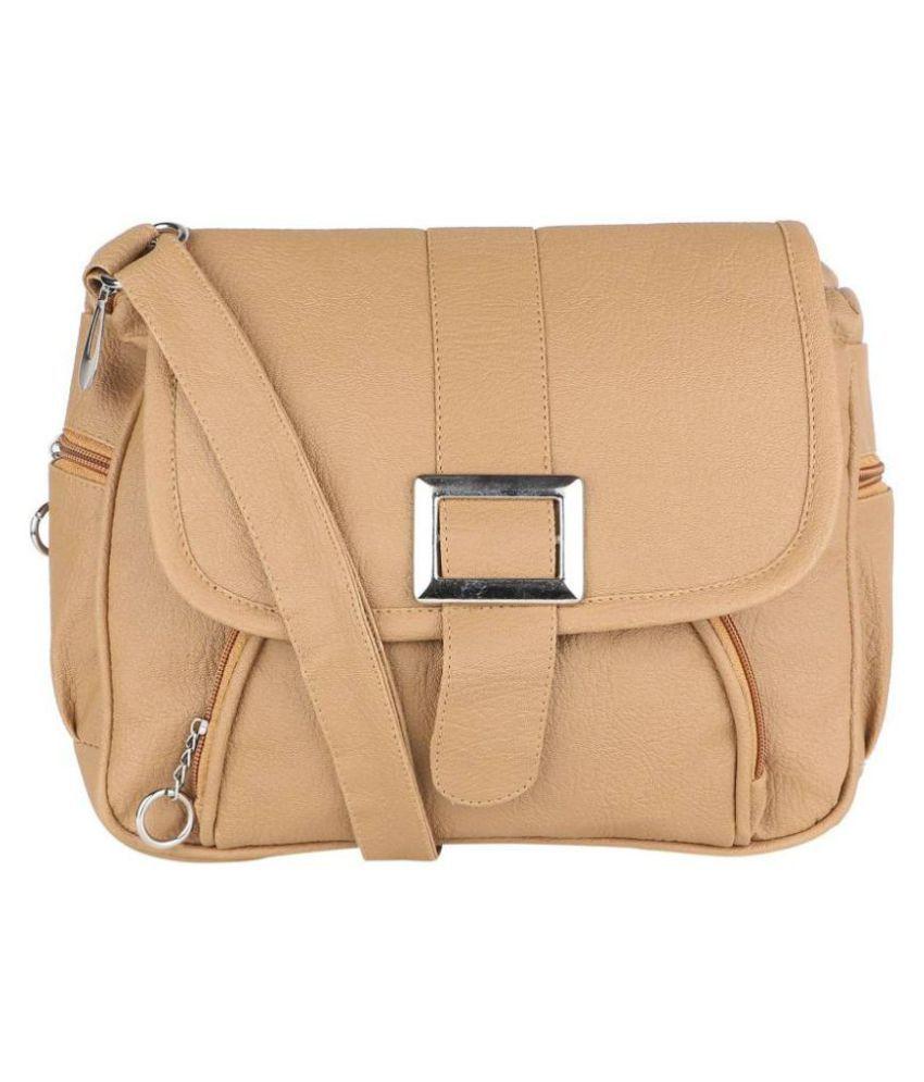 bbb43239b9da Stylish Beige Faux Leather Shoulder Sling bag by Sr Sales