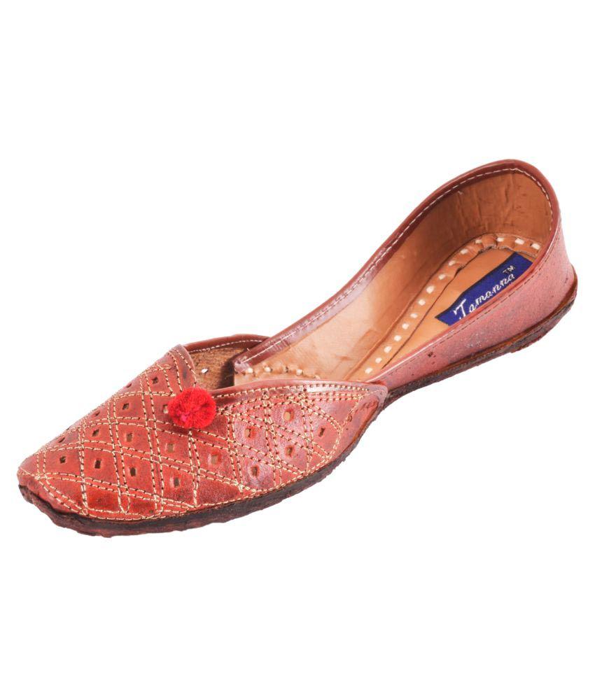 Tamanna Maroon Flat Ethnic Footwear