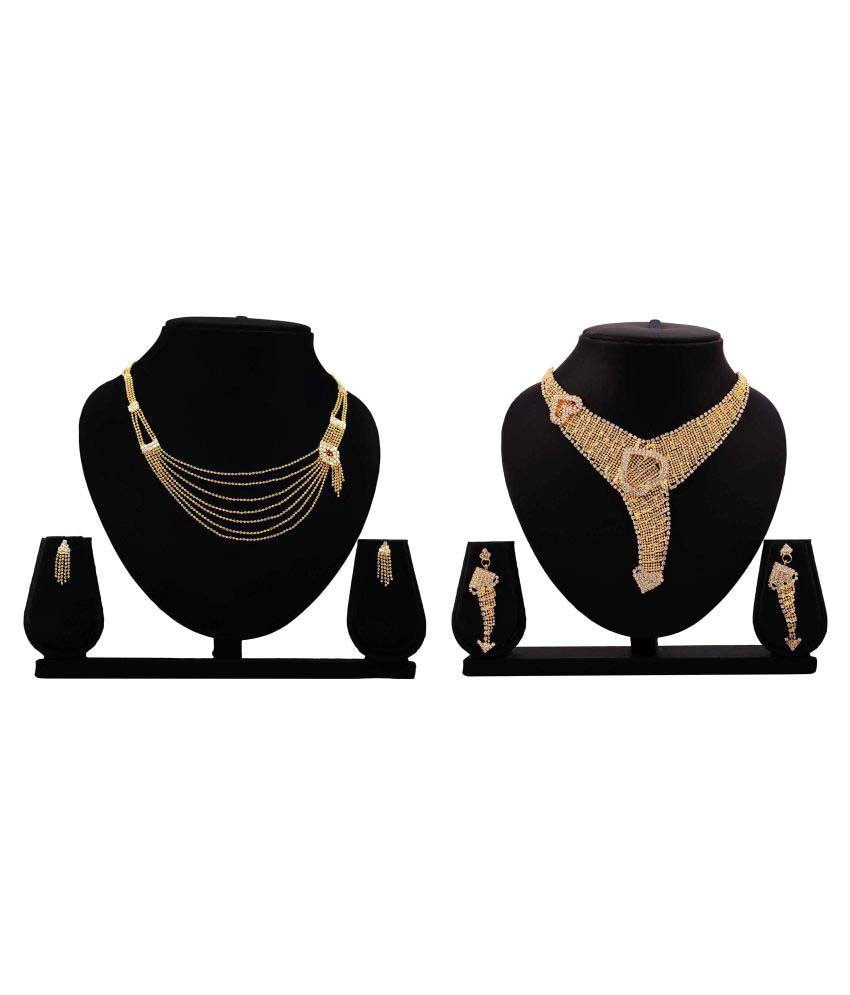 Gopalvilla Presents Golden Alloy Combo Necklace Set