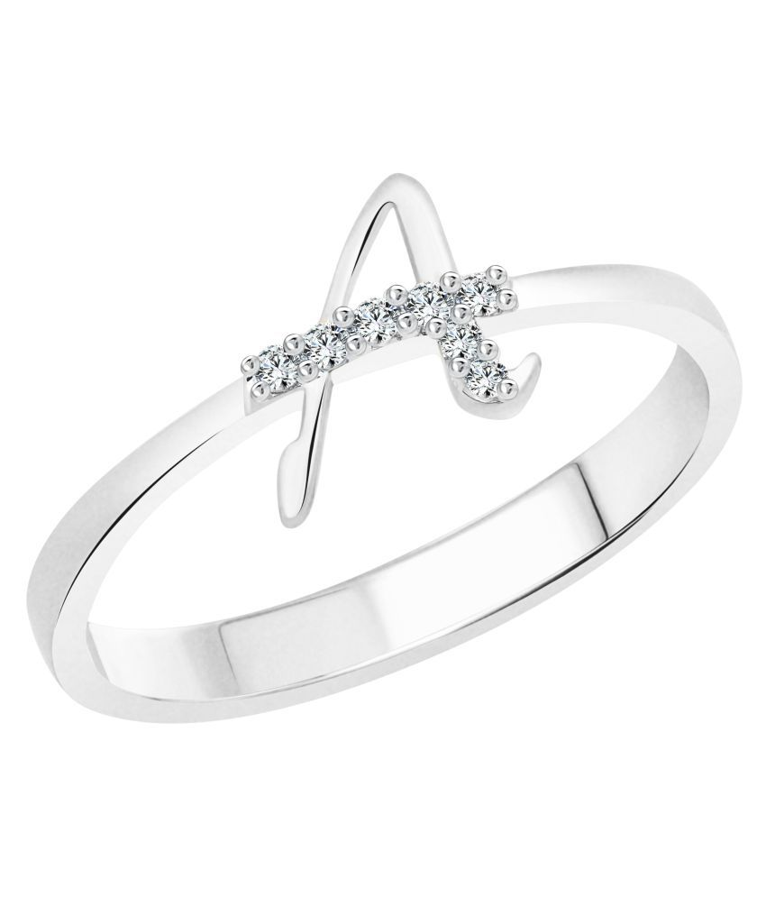 Vighnaharta Initial ''A'' Alphabet (CZ) Rhodium Plated Alloy Ring For Women