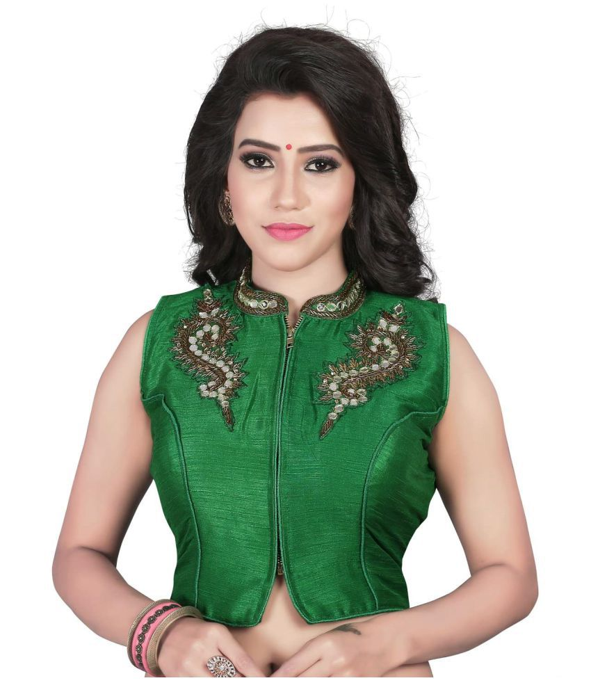 Womens Ethnic Green Net Back Blouse