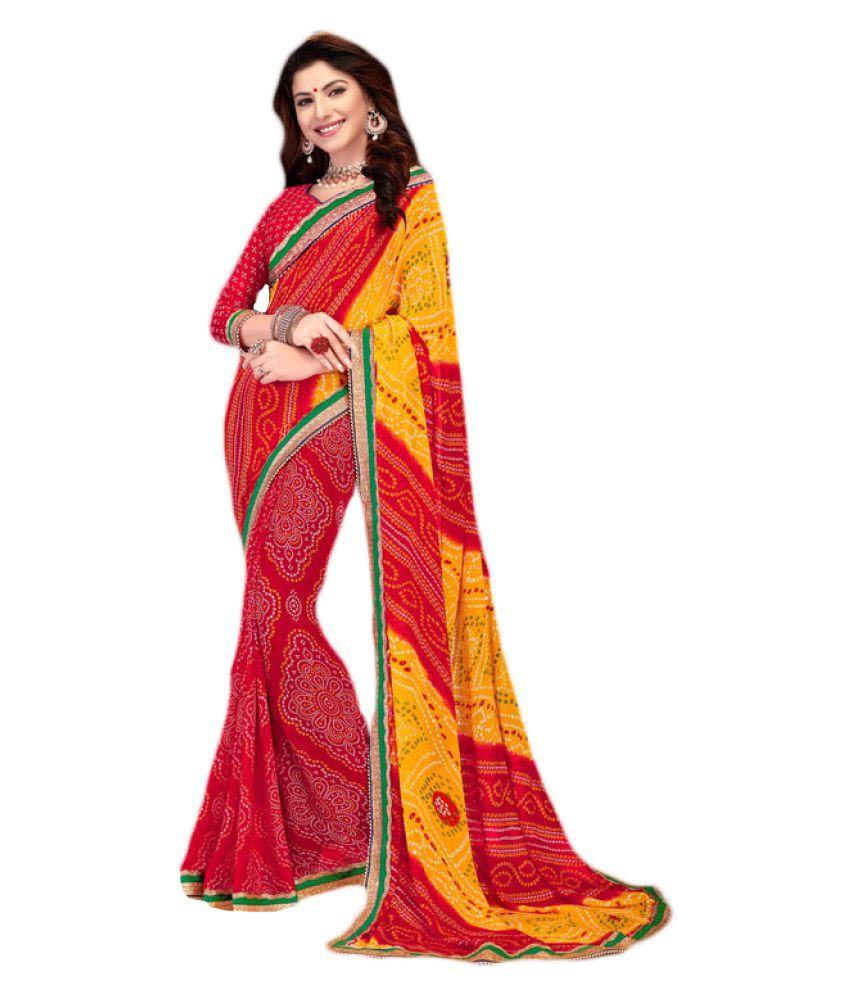 Garment Red Chiffon Saree