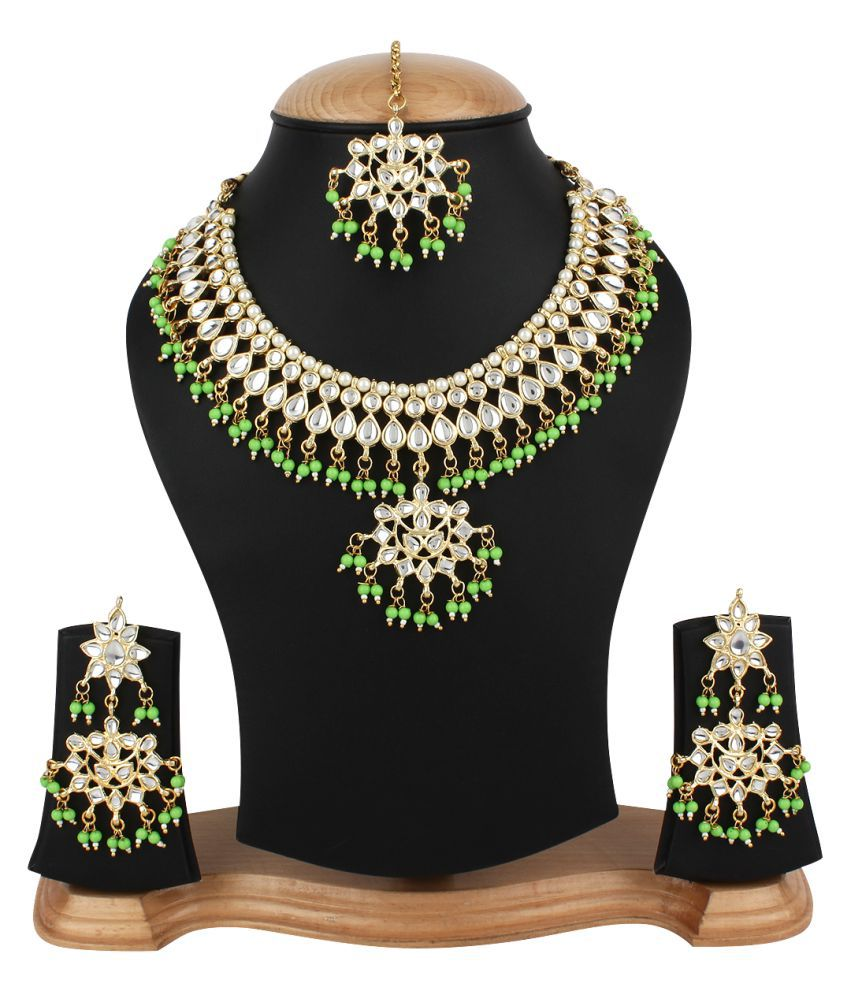 Penny Jewels Gold Plated Traditional Alloy Necklace With Earring Set & Maangtika For Women