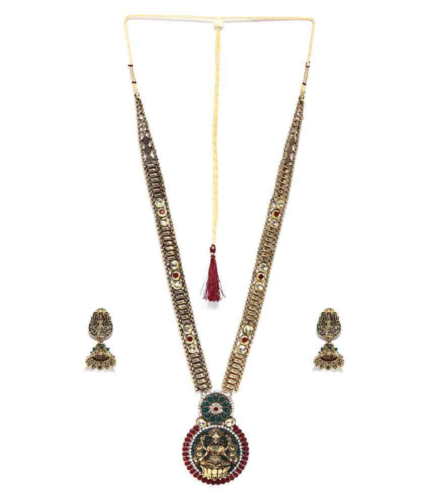 Zaveri Pearls Multicolour Ethnic Temple Necklace Set ZPFK4354