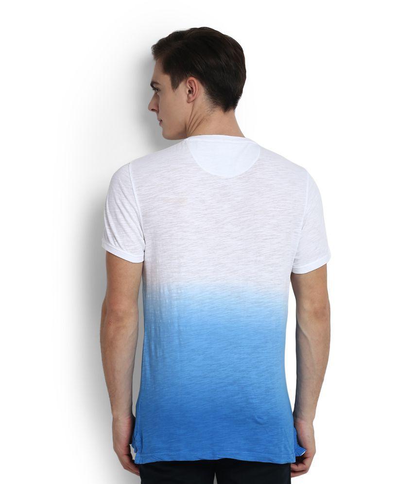 Peter England White Henley T-Shirt